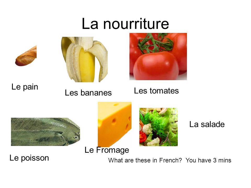 La nourriture What are these in French.