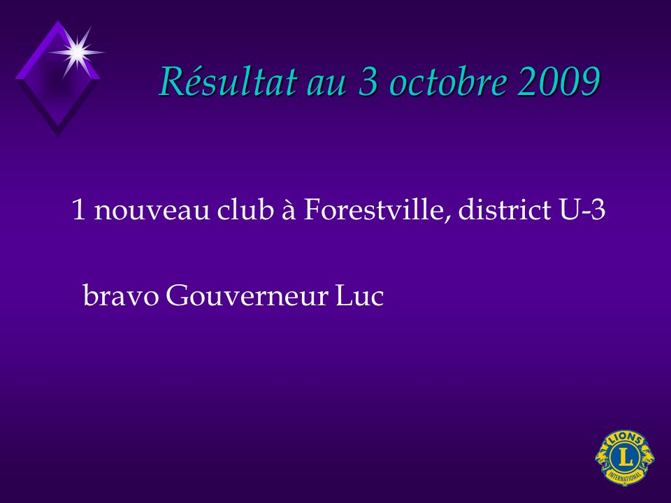 Résultat au 3 octobre nouveau club à Forestville, district U-3 bravo Gouverneur Luc