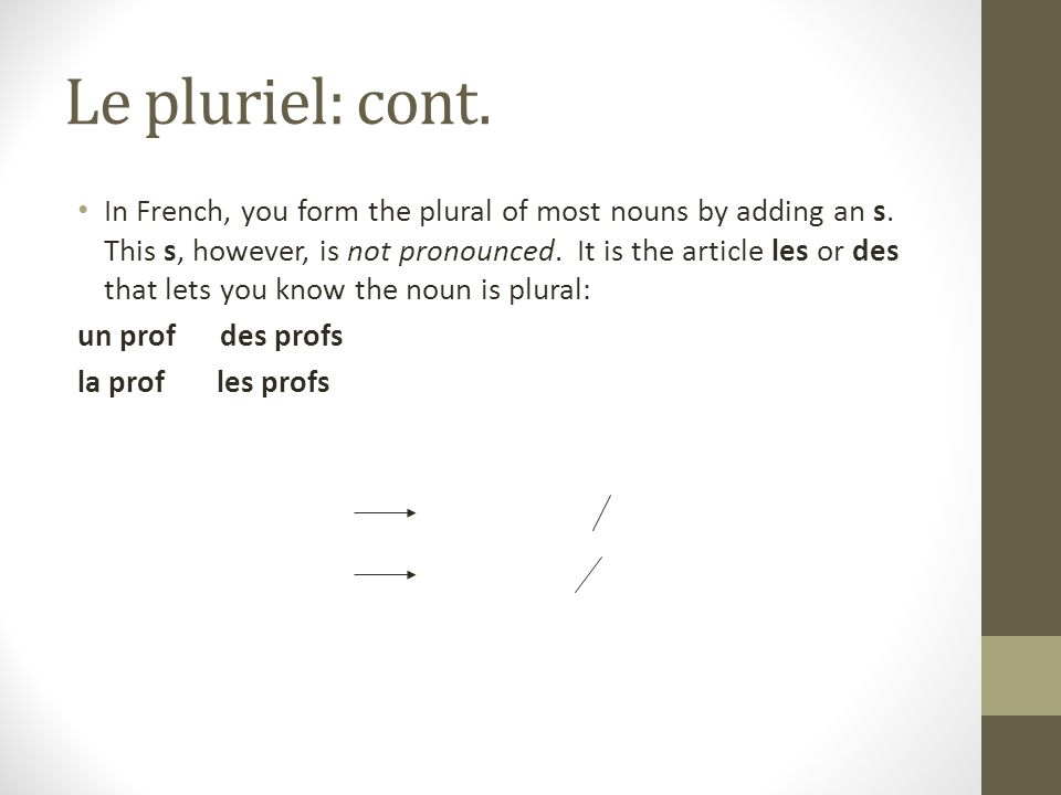 Le pluriel: cont. In French, you form the plural of most nouns by adding an s.