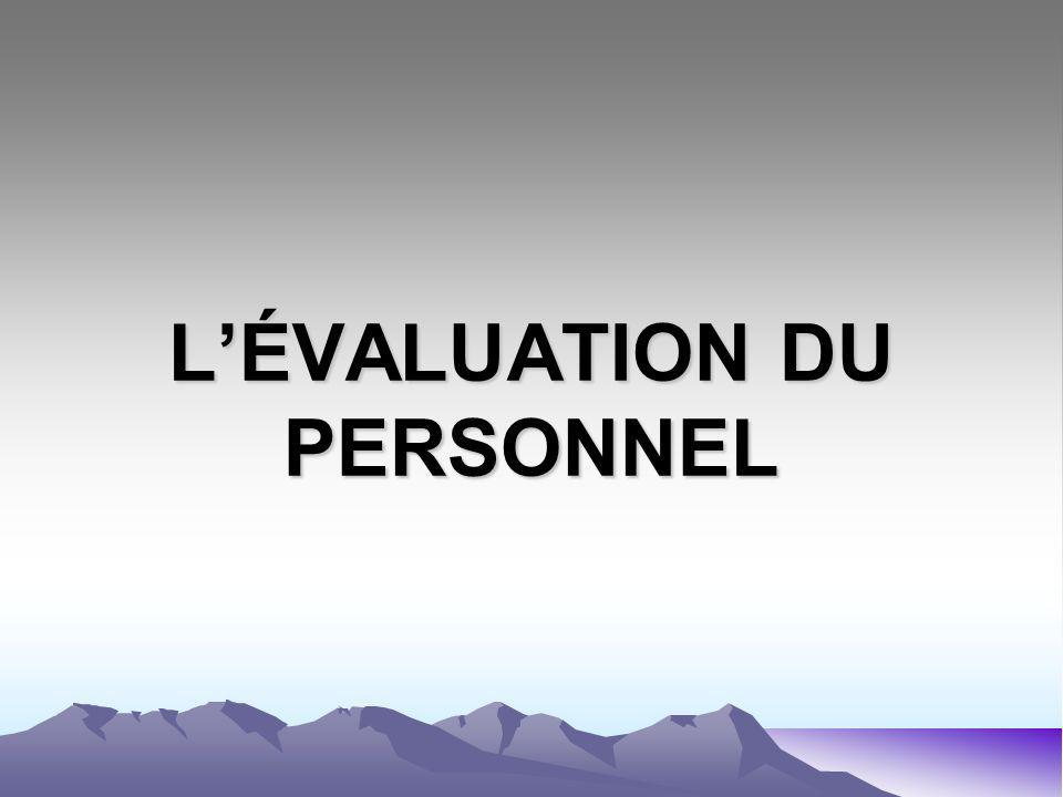 LÉVALUATION DU PERSONNEL