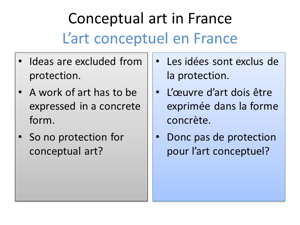 Conceptual art in France Lart conceptuel en France Ideas are excluded from protection.