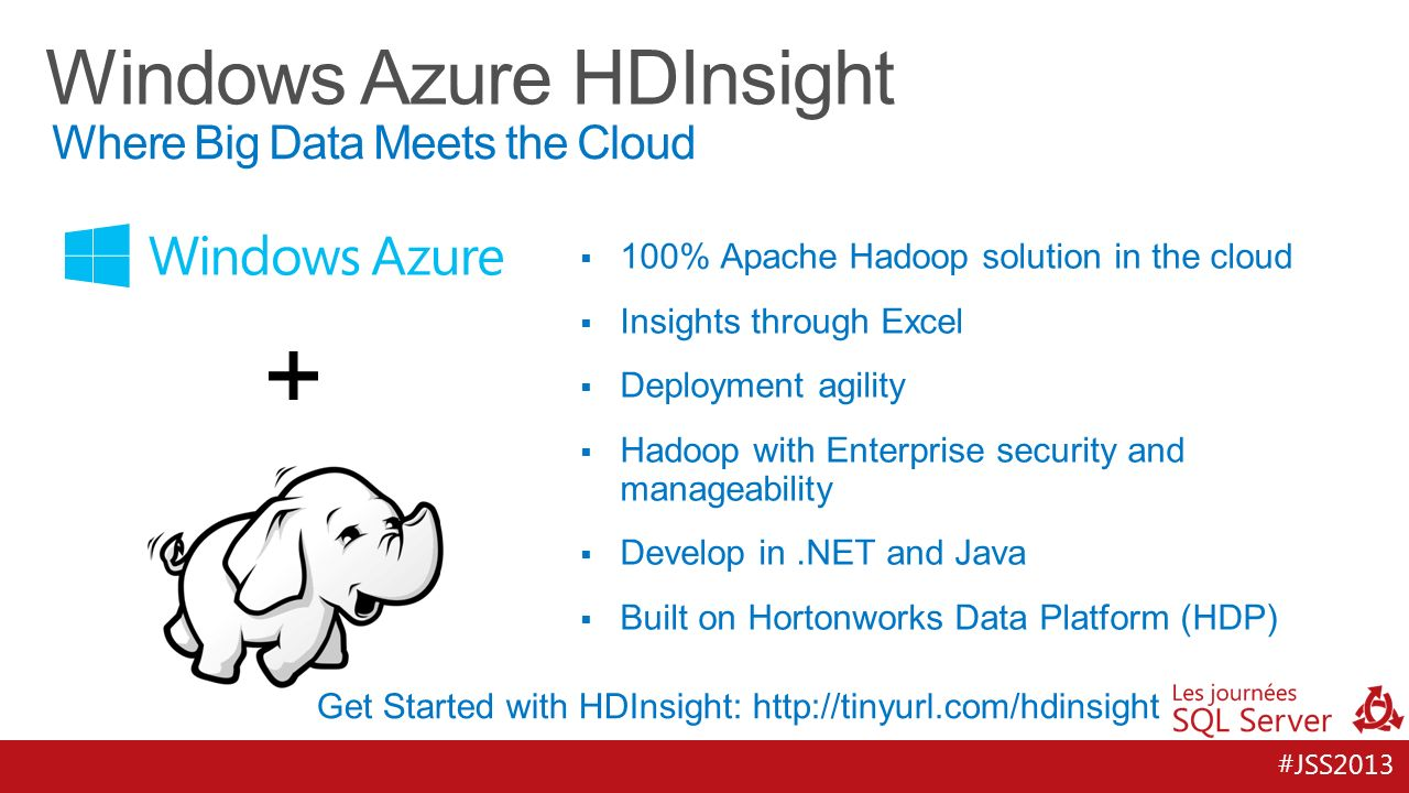 #JSS % Apache Hadoop solution in the cloud Insights through Excel Deployment agility Hadoop with Enterprise security and manageability Develop in.NET and Java Built on Hortonworks Data Platform (HDP) Where Big Data Meets the Cloud Get Started with HDInsight: