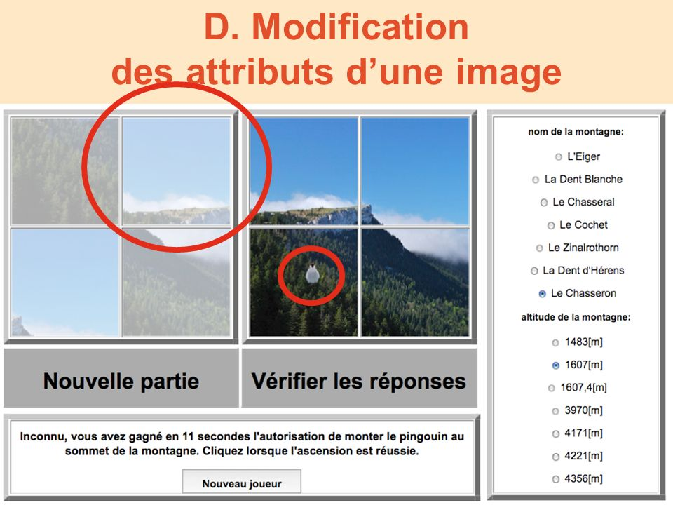 D. Modification des attributs dune image