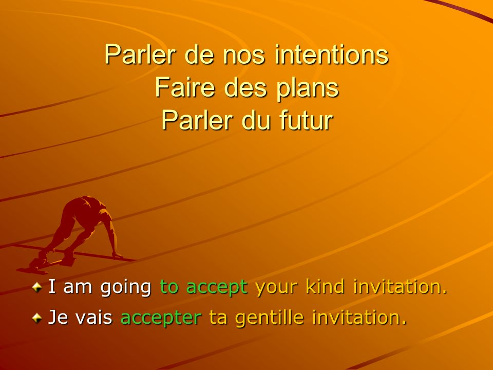 Parler de nos intentions Faire des plans Parler du futur I am going to accept your kind invitation.