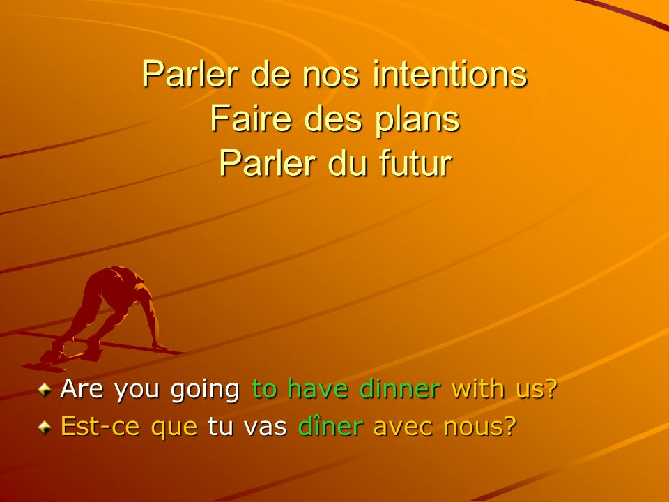 Parler de nos intentions Faire des plans Parler du futur Are you going to have dinner with us.