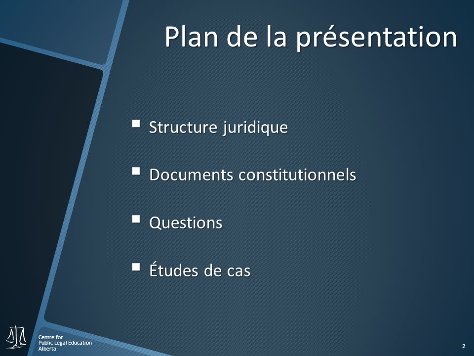 Centre for Public Legal Education Alberta 2 Plan de la présentation Structure juridique Structure juridique Documents constitutionnels Documents constitutionnels Questions Questions Études de cas Études de cas