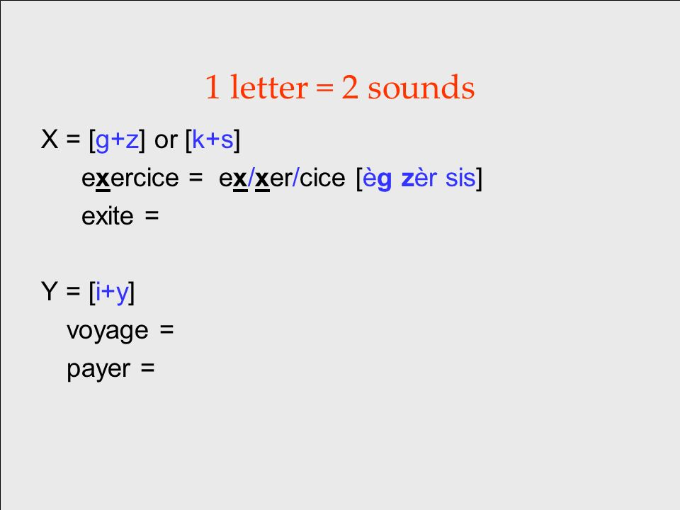 1 letter = 2 sounds X = [g+z] or [k+s] exercice = ex/xer/cice [èg zèr sis] exite = Y = [i+y] voyage = payer =