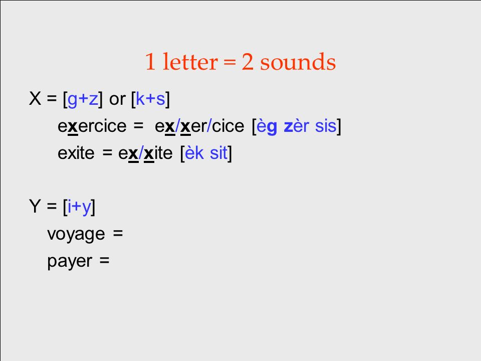 1 letter = 2 sounds X = [g+z] or [k+s] exercice = ex/xer/cice [èg zèr sis] exite = ex/xite [èk sit] Y = [i+y] voyage = payer =