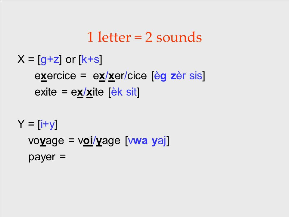 1 letter = 2 sounds X = [g+z] or [k+s] exercice = ex/xer/cice [èg zèr sis] exite = ex/xite [èk sit] Y = [i+y] voyage = voi/yage [vwa yaj] payer =