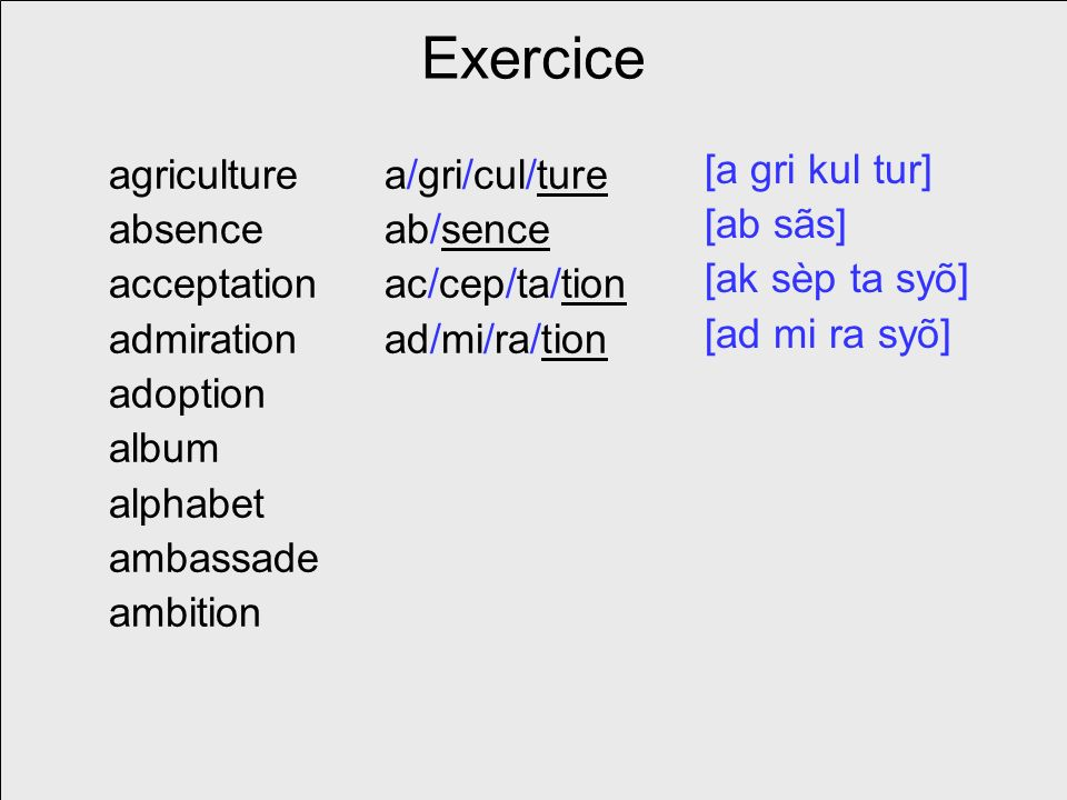 Exercice agriculture absence acceptation admiration adoption album alphabet ambassade ambition a/gri/cul/ture ab/sence ac/cep/ta/tion ad/mi/ra/tion [a gri kul tur] [ab sãs] [ak sèp ta syõ] [ad mi ra syõ]