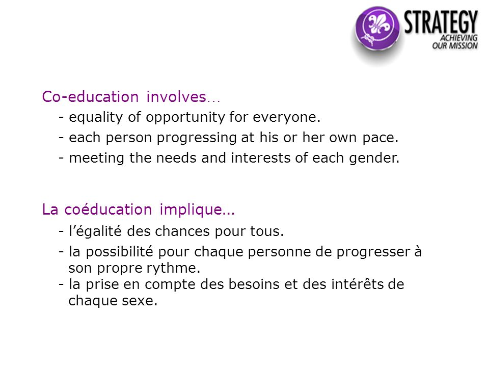 Co-education involves … - equality of opportunity for everyone.
