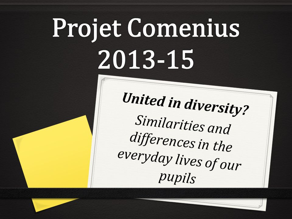 United in diversity Similarities and differences in the everyday lives of our pupils