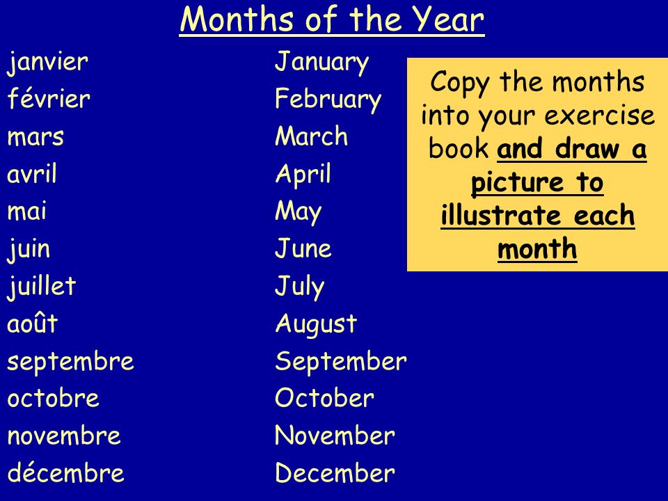 Months of the Year janvierJanuary févrierFebruary marsMarch avrilApril maiMay juinJune juilletJuly aoûtAugust septembreSeptember octobreOctober novembreNovember décembre December Copy the months into your exercise book and draw a picture to illustrate each month