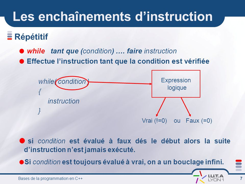 Bases de la programmation en C++ 7 Répétitif while tant que (condition) ….