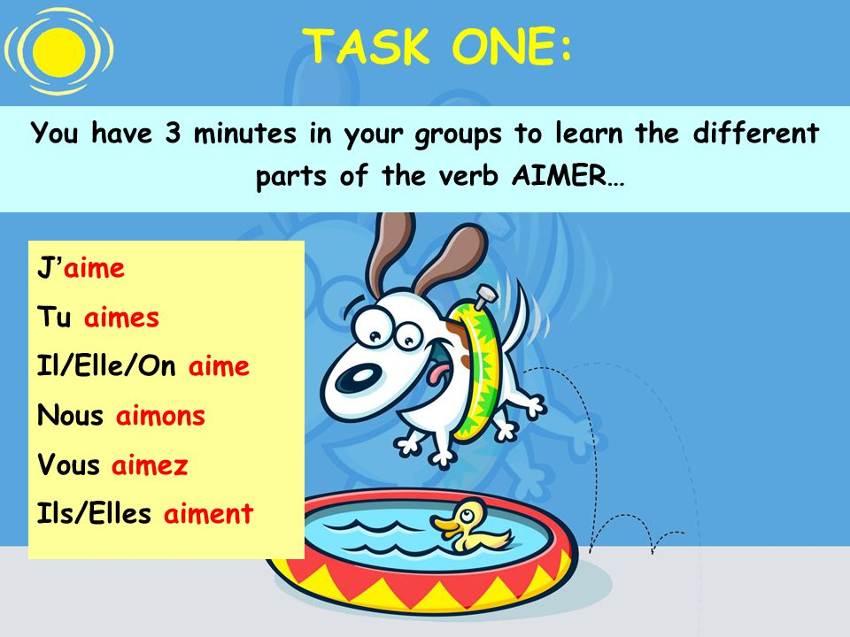TASK ONE: You have 3 minutes in your groups to learn the different parts of the verb AIMER… J aime Tu aimes Il/Elle/On aime Nous aimons Vous aimez Ils/Elles aiment