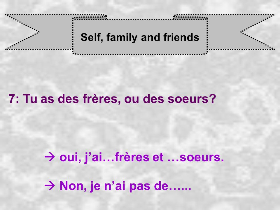 Self, family and friends 7: Tu as des frères, ou des soeurs.