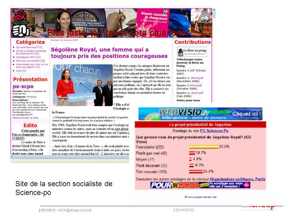 | ©IDHEAP - | | 30/04/2014 | Site de la section socialiste de Science-po