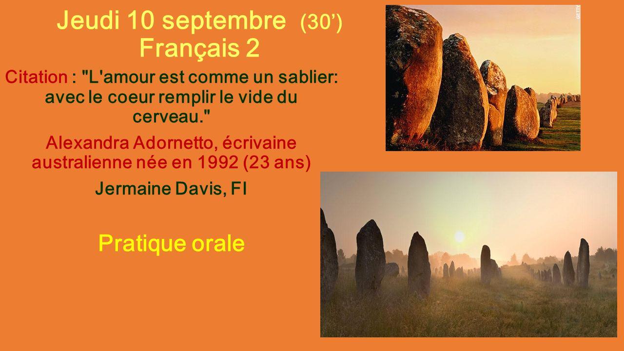 Jeudi 10 Septembre 30 Français 2 Citation L Amour Est