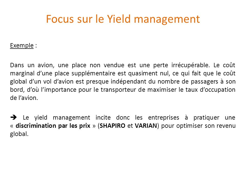 yield management exemple