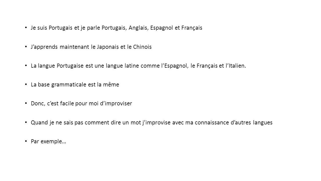 Je Suis Portugais Et Je Parle Portugais Anglais Espagnol Et