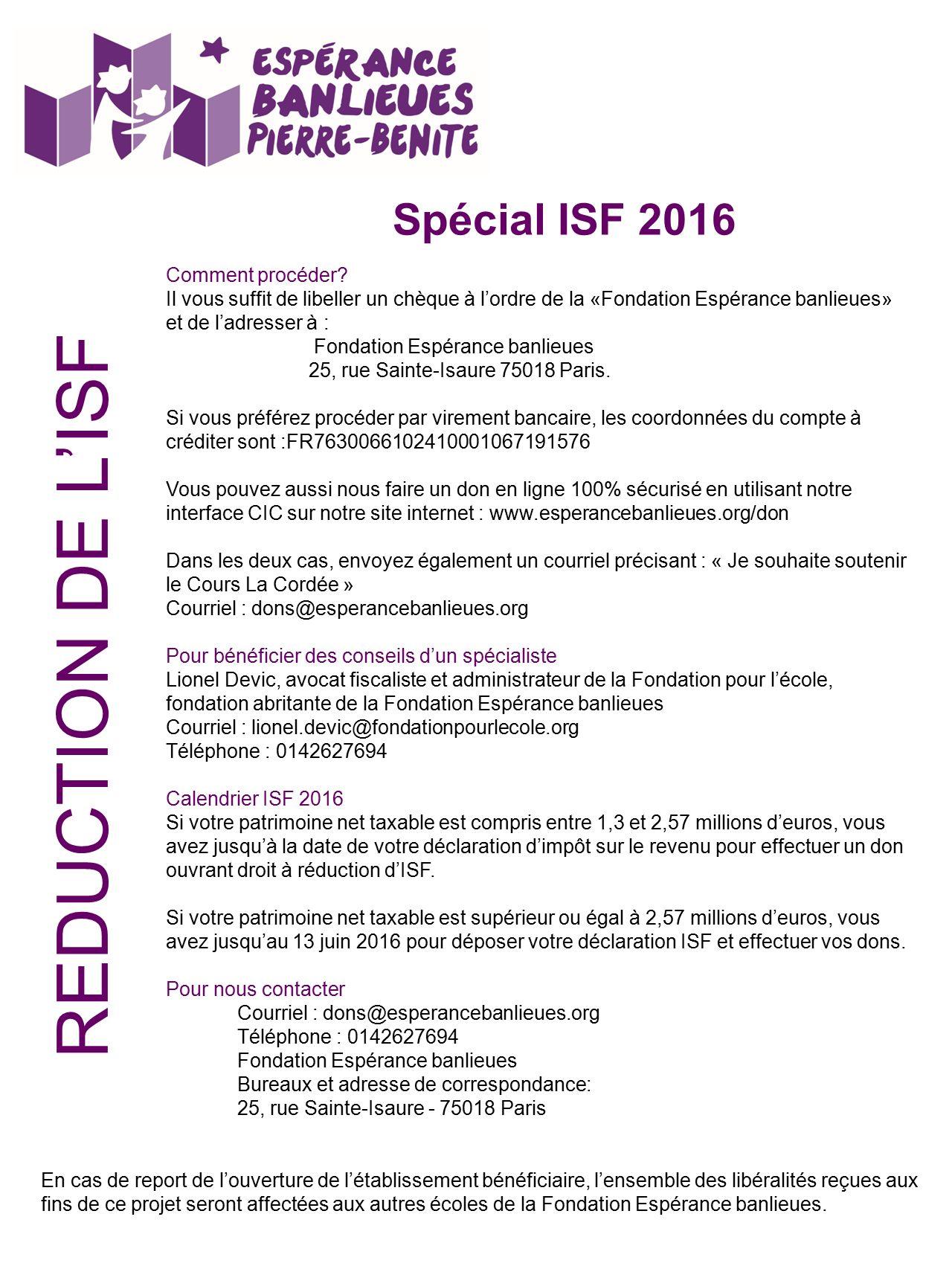 Bulletin De Soutien Special Isf 2016 Pour Soutenir L Action De L