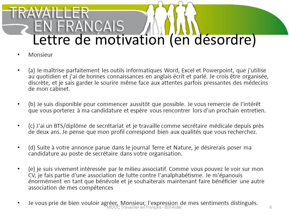 Semaine 3 Rédiger Une Lettre De Motivation Bill Alder Mooc