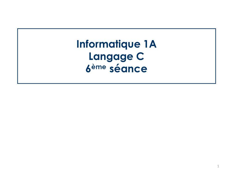 Informatique 1a Langage C 6 Eme Seance 1 Objectifs De La Seance 6