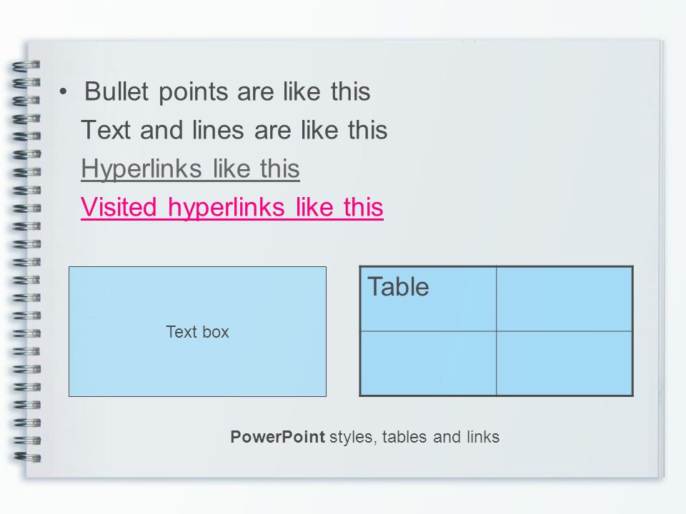 Bullet points are like this Text and lines are like this Hyperlinks like this Visited hyperlinks like this Table Text box PowerPoint styles, tables and links