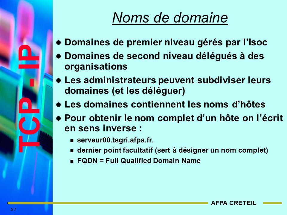 7 TCP - IP AFPA CRETEIL 5-6 DNS   Espace de noms de domaines Les Domaines  ROOT- Level Domains Le haut de la structure hiérarchique ... a6824c701baf
