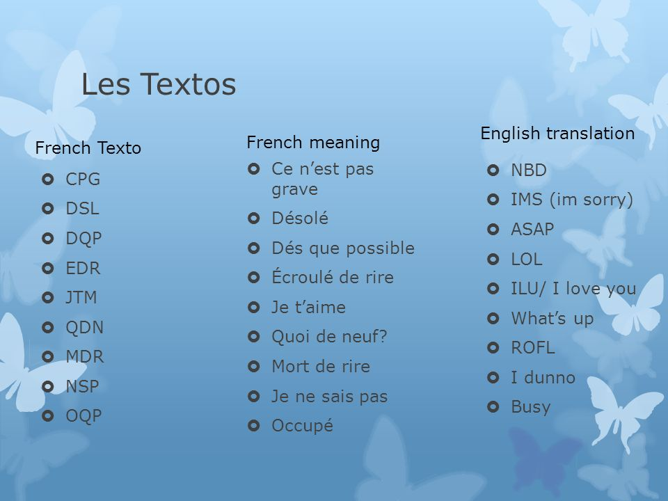 Texto French Club  Les Textos  Do you know what the