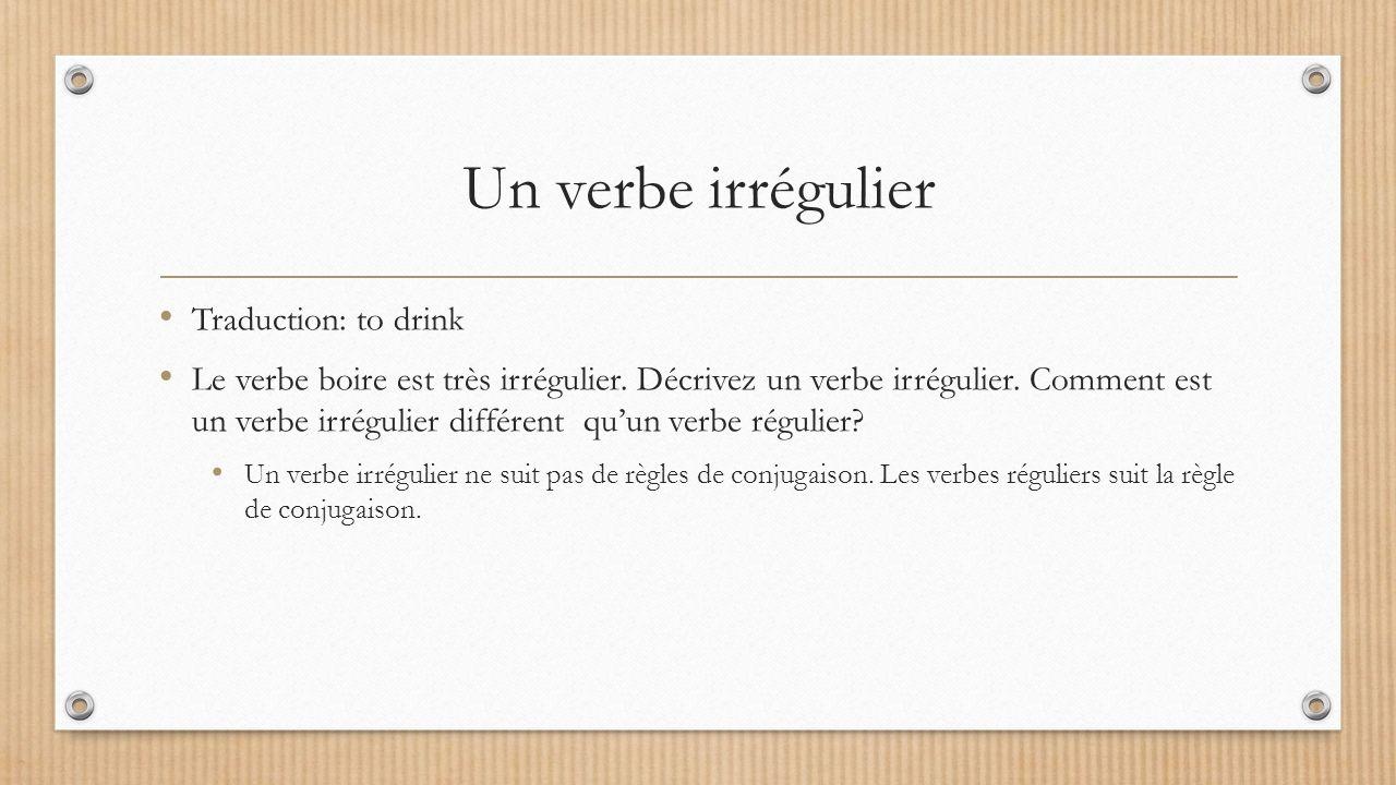 Boire Francais 1 Chapitre 6 Un Verbe Irregulier Traduction To Drink Le Verbe Boire Est Tres Irregulier Decrivez Un Verbe Irregulier Comment Est Un Ppt Telecharger