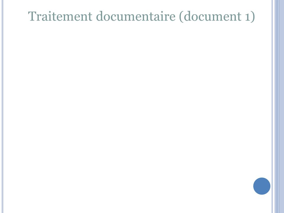 Traitement documentaire (document 1)