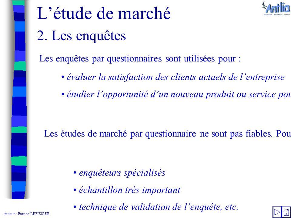 Auteur Patrice Lepissier L Etude De Marche Le Plan De L Etude