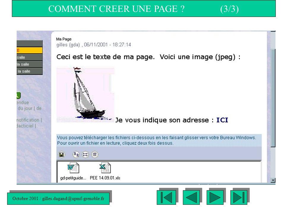 Octobre 2001 / COMMENT CREER UNE PAGE .