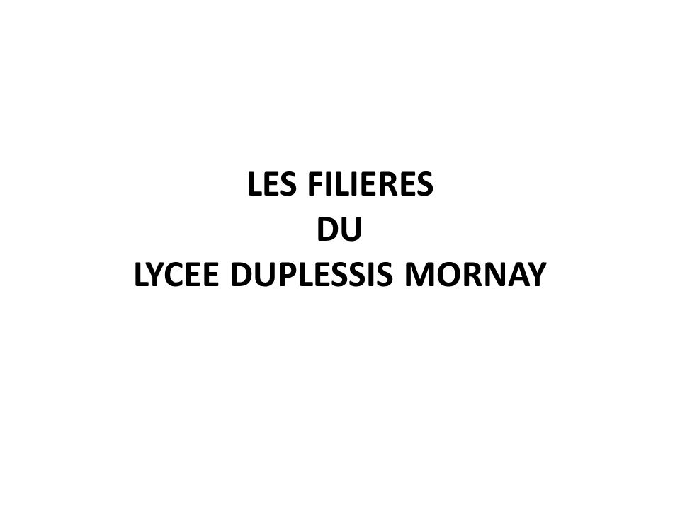 LES FILIERES DU LYCEE DUPLESSIS MORNAY