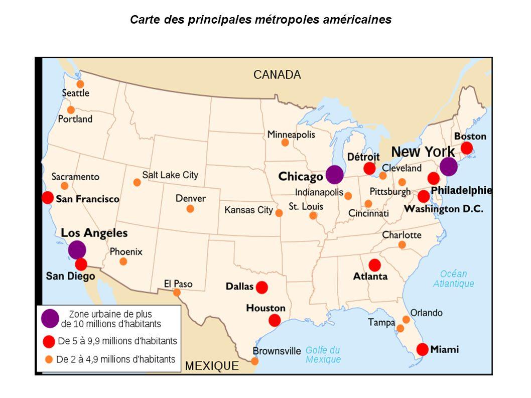 2 Carte Des Principales Mtropoles Amricaines