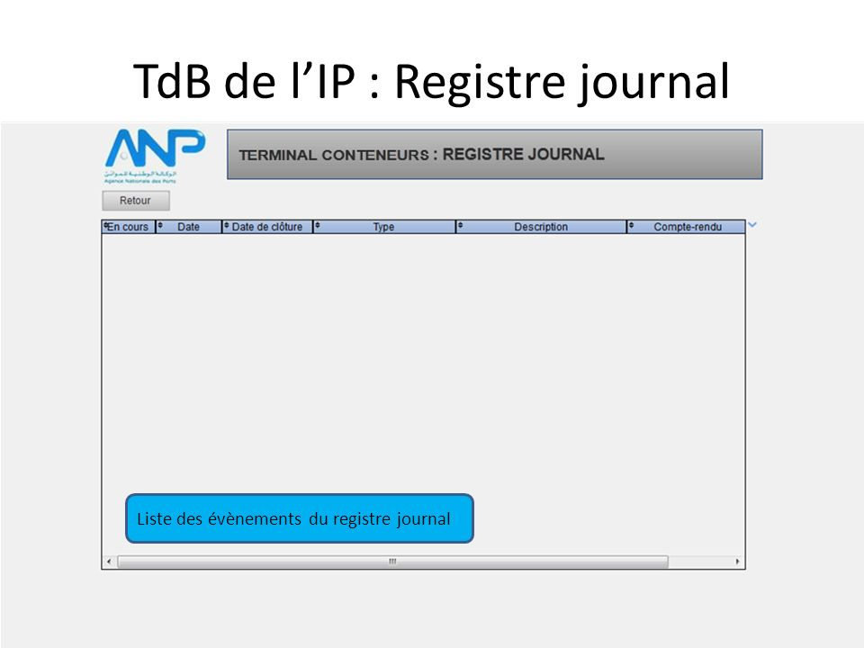 TdB de l'IP : Registre journal Liste des évènements du registre journal