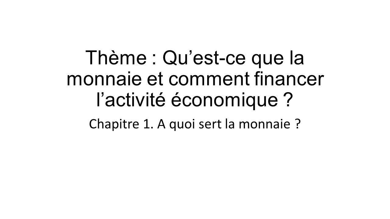 Theme Qu Est Ce Que La Monnaie Et Comment Financer L Activite