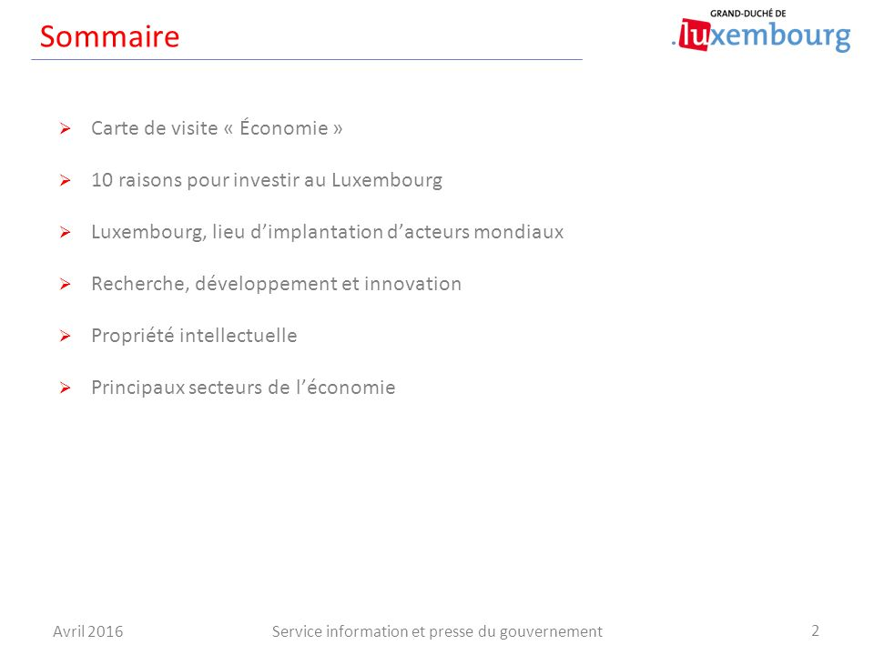 Investir Au Luxembourg Sommaire Avril Service Information Et Presse