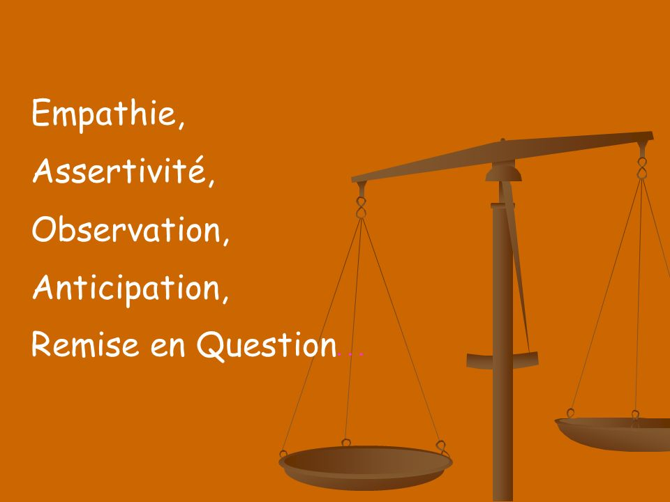 Empathie, Assertivité, Observation, Anticipation, Remise en Question …