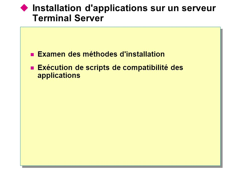  Installation d applications sur un serveur Terminal Server Examen des méthodes d installation Exécution de scripts de compatibilité des applications