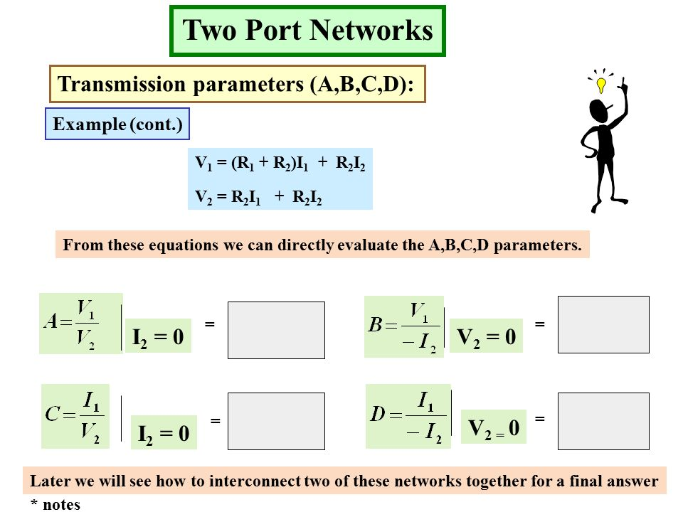 Two Port Networks Transmission parameters (A,B,C,D): Example (cont.) V 1 = (R 1 + R 2 )I 1 + R 2 I 2 V 2 = R 2 I 1 + R 2 I 2 From these equations we can directly evaluate the A,B,C,D parameters.