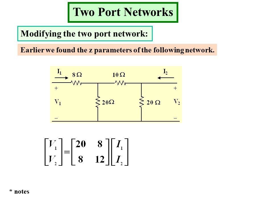 Two Port Networks Modifying the two port network: Earlier we found the z parameters of the following network.