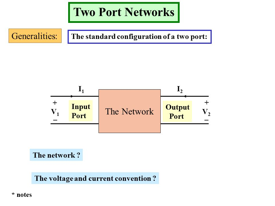 Two Port Networks Generalities: The standard configuration of a two port: The Network Input Port Output Port + __ + V1V1 V2V2 I1I1 I2I2 The network .