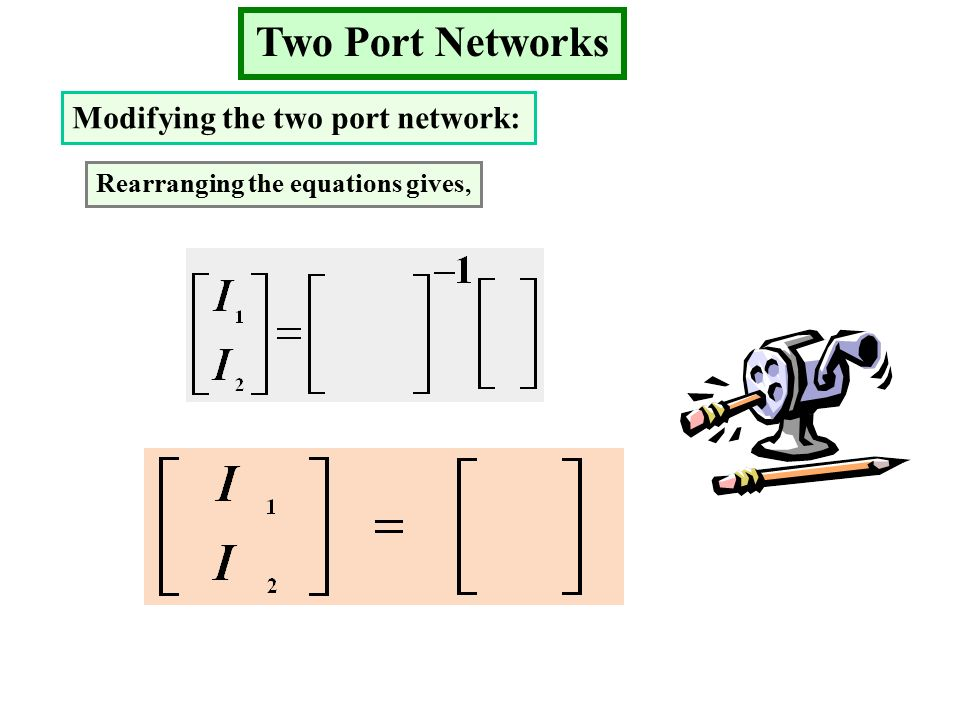 Two Port Networks Modifying the two port network: Rearranging the equations gives,