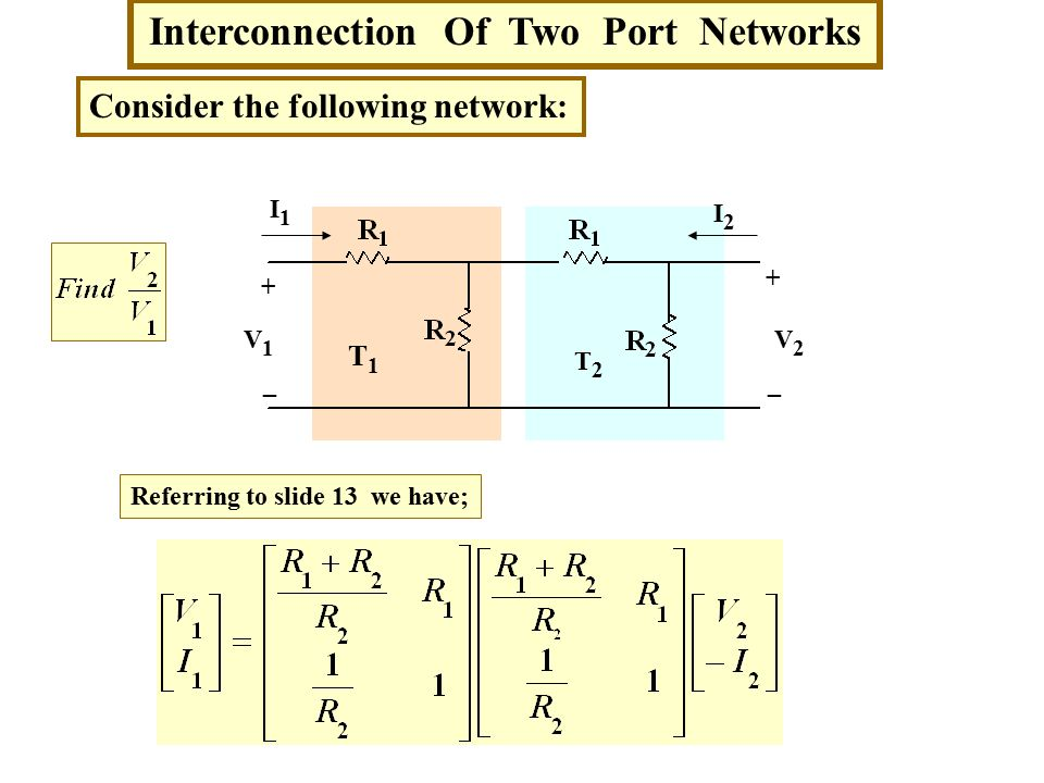 Interconnection Of Two Port Networks Consider the following network: T1T1 T2T2 Referring to slide 13 we have; + _ + _ V1V1 V2V2 I1I1 I2I2