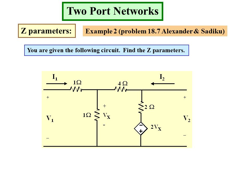 Two Port Networks Z parameters: Example 2 (problem 18.7 Alexander & Sadiku) You are given the following circuit.