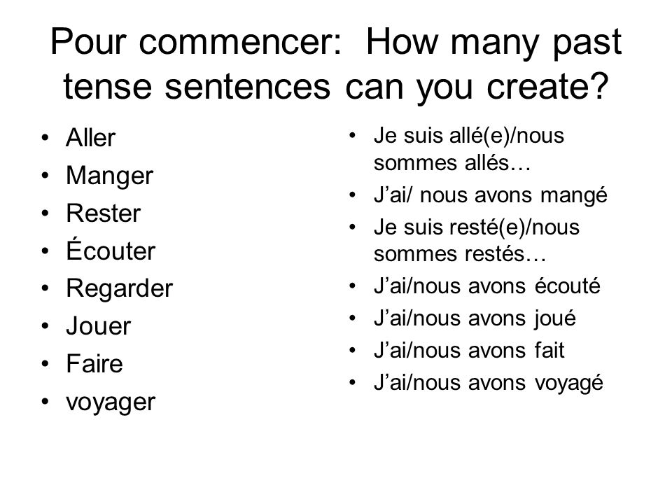 Pour commencer: How many past tense sentences can you create.