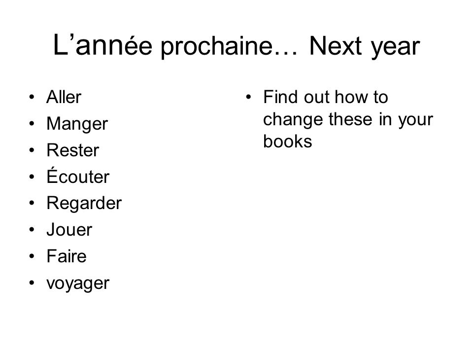 Lann ée prochaine… Next year Find out how to change these in your books Aller Manger Rester Écouter Regarder Jouer Faire voyager