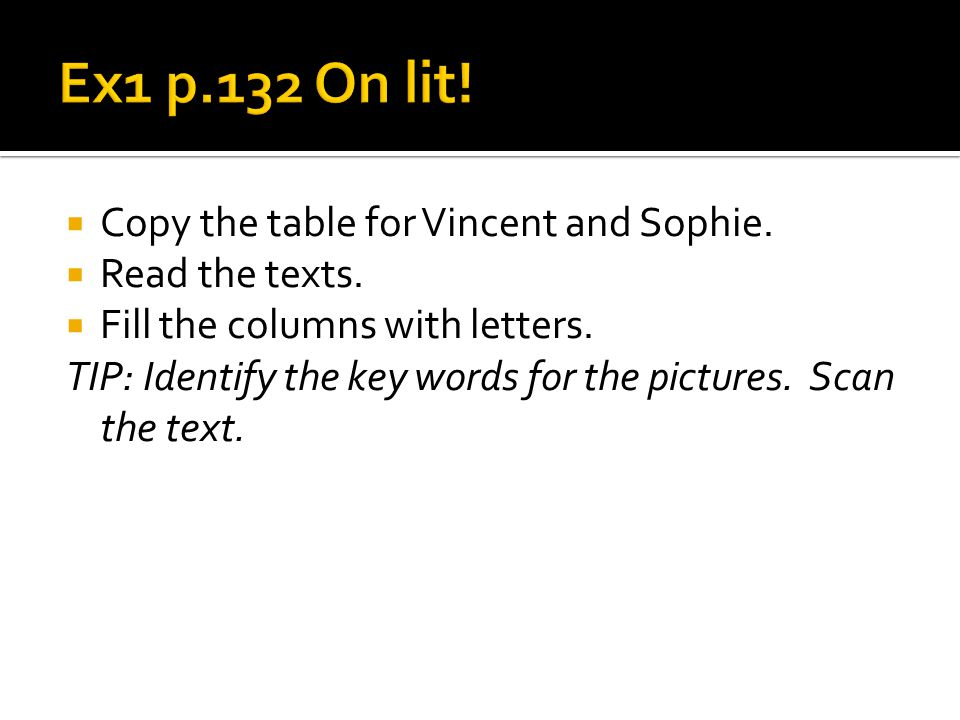 Copy the table for Vincent and Sophie. Read the texts.